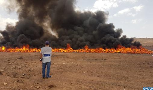 Ouarzazate : destruction d'une grande quantité de drogues et de produits de contrebande